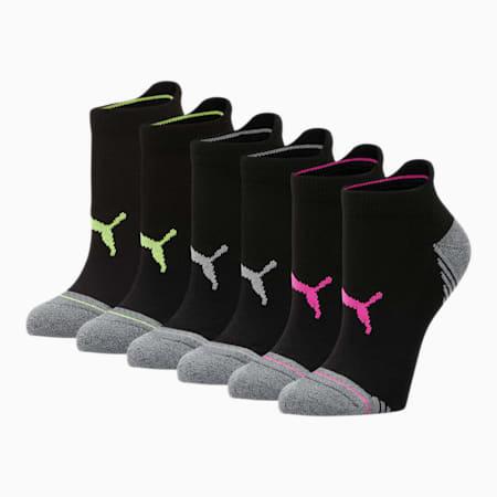 Women's Low Cut Socks [6 Pack], BLACK / PINK, small
